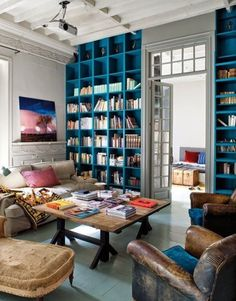 Colorful built-in bookshelves.