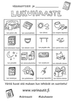 Värinautti Primary Education, Special Education, Learn Finnish, Finnish Language, Kids Schedule, Printable Crafts, Early Literacy, Drawing For Kids, Reading Comprehension
