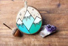 Teal Mountains Wood Slice Ornament Wood-Burned by bytherockandweed