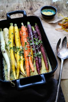 colorful roasted carrots in cream sauce from circahappy.com