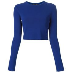 Proenza Schouler Cropped Jumper (€345) ❤ liked on Polyvore featuring tops, sweaters, shirts, crop tops, blue, blue jumper, blue long sleeve shirt, long sleeve sweaters, cuff shirts and blue shirt