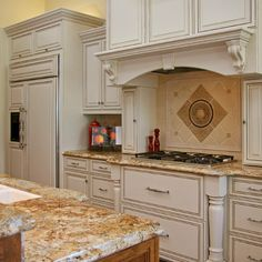 Furniture: Traditional Kitchen Using Discount Granite Kitchen Countertop And Crown Molding Cabinets, kitchen countertop, kitchen countertops design ~ parsegallery Kitchen Remodel, Kitchen Design, Farmhouse Kitchen Backsplash, Traditional Kitchen, Kitchen Plans, Kitchen Countertops, Kitchen, White Distressed Cabinets, Kitchen Cooktop