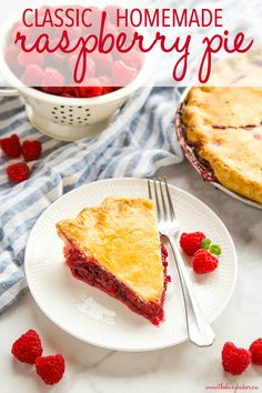 This Classic Raspberry Pie is the perfect summer dessert recipe made with an all-butter crust & fresh raspberries - with 10 Pro Tips for the perfect pie! Recipe from thebusybaker.ca! #raspberrypie #homemadepie #raspberry #baking #dessert #homesteading