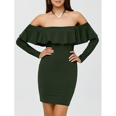 Off The Shoulder Flounce Bodycon Dress Frilly Dresses, Ruffle Dress, Bodycon Cocktail Dress, Bodycon Dress, Off Shoulder Cocktail Dress, Shoulder Dress, Fast Fashion Brands, Stylish Dresses, Trendy Outfits