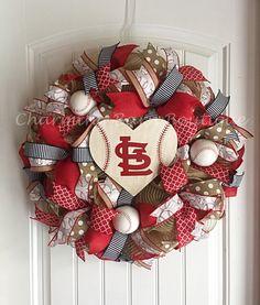 St.Louis Cardinals Wreath, St.Louis Cardinals Sign, St.Louis Cardinals Decor, St.Louis Decor, MLB Wreath, Baseball Wreath, Baseball Decor by CharmingBarnBoutique on Etsy