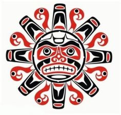 Tribal Native Haida Tattoo Sun With Face Tattoo Design