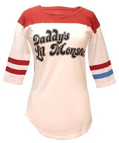 Suicide Squad Harley Quinn Daddy's Lil Monster Juniors Raglan T-shirt, One of the most iconic scenes in Suicide Squad is that part when Harley changed clothes in front of her fellow inmates and the Belle Reeve staff. Part of this is because it humorously Harley Quinn, Raglan T-shirt, Daddys Lil Monster, Last Minute Costumes, Thing 1, Cosplay, Branded T Shirts, Cool T Shirts, Shorts