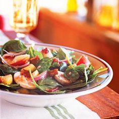 Spinach Salad with Maple-Dijon Vinaigrette | MyRecipes.com (Leave out the bacon.)