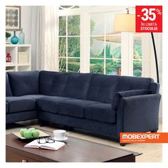 Peever II Navy Sectional Sofa - Description : Add some modern charm to your home with this flannelette living room sectional. The tufted cushions provide visual interest while the slightly an Navy Sectional, Fabric Sectional, Living Room Sectional, My Living Room, Living Room Furniture, Home Furniture, Online Furniture, Modern Furniture, Navy Couch