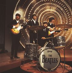 A look back at 'Revolver' on its 50th anniversary. The Beatles perform 'Rain' and 'Paperback Writer' on BBC TV show 'Top Of The Pops' in London on 16th June 1966.
