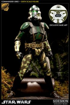 """Sideshow Collectibles Star Wars - Commander Gree Sixth Scale Figure ~ """"Clone Commander Gree, designation 1004, led the Elite Corps stationed on Kashyyyk during the Clone Wars. He served under General Yoda, commanding troops that employed specialized equipment for combat in the jungle environment. Though a faithful commander following Yoda's orders, Gree was ultimately loyal to the Republic."""" ~ Limited Edition: 1000 ~ SRP: $124.99 ~ (Sideshow sold out)"""