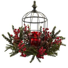 """Pine Berry Birdhouse Candelabrum - Here's a holiday decoration that is sure to light anyone's fire! This beautiful, elegant Pine Berry Birdhouse Candelabrum is easily one of the most striking pieces you can display. With a deep red candelabrum, """"birdhouse""""-style housing, surrounded by pine berried, sprigs, and pinecones, it's a festive delight that will stay looking fresh for decades. Makes a perfect gift as well. Number of Trunks: NA Number of Flowers: NA Number of Leaves: NA Pot Size: H…"""