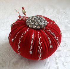 I ❤ pincushions . . . Velvet Tomato Pincushion- Red Velvet with big rhinestone button and embroidery ~By Fiberluscious