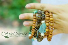 Calypte Collection Beaded Bracelet Stacks! Sandalwood, Gemstones and Karen Hill Tribe Silver. CalypteCollection.com