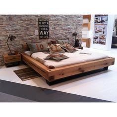 Bett aus Eiche Balken Heavy Sleep Pickupmöbel.de