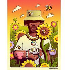 Adam Martinakis Connects The Spirit And The Material Into Emblematic Scenes — Art Arte Do Hip Hop, Hip Hop Art, Dope Cartoon Art, Cartoon Art Styles, Tyler The Creator Wallpaper, Rapper Art, Small Canvas Art, Estilo Anime, Hippie Art