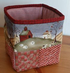 A lovely pattern by Patchwork Pottery included in the Zakka Style book. Easy Yarn Crafts, Crafts To Make, Fabric Crafts, Sewing Crafts, Sewing Tutorials, Bag Tutorials, Fabric Storage Boxes, Fabric Boxes, Fabric Basket
