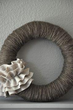 Yarn & Felt Wreath - really diggin the grays right now...