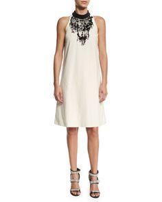 Brunello Cucinelli Cotton Techno Sleeveless Dress, Butter
