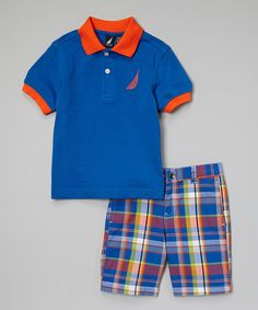 Another great find on #zulily! Royal Blue & Orange Polo & Plaid Shorts - Toddler by Nautica #zulilyfinds