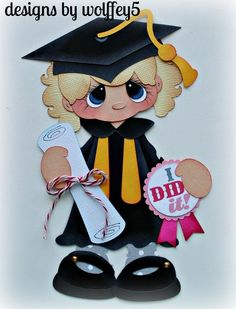BOY GRADUATION  BLUE GOWN SCHOOL KID PREMADE PAPER PIECING BY MYTB KIRA