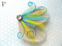 Oh Lucy Handmade DREAM Peacock Feather Hair Clip, Feather Fascinator in Ivory, Turquoise, and Yellow - Bridal hair accessories (*Amazon Partner-Link)
