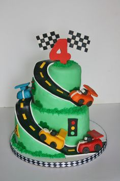 Racing Car Themed Birthday Cake For A Year Old Little Boy My