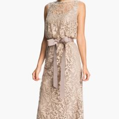 Tadashi Shoji beautiful lace dress Neutral Tadashi dress perfect for attending or participating in a wedding. MOTB, Bridesmaid, or attendee. Gorgeous. Worn once for wedding. Tadashi Shoji Dresses