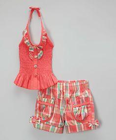 Coral Halter Top & Plaid Shorts - Toddler & Girls by Maria Elena #zulily #zulilyfinds