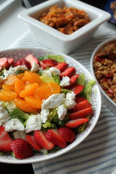 Island Salad  A Wilde Simple    1 head Romaine lettuce, chopped  1/2 pint strawberries, hulled & sliced  1/2 cup mandarin oranges  1/4 cup goat cheese  Your favorite, simple, olive oil & vinegar dressing