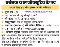 www.crwc.in- CRWC Recruitment For Manager 28 Post Apply Form - Karani Naukri
