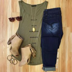 Hello Hola Top - Olive