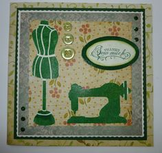 """'Thanks Sew Much' card.   Imagination Craft's - Stitch in time stencil.  7""""x7"""" cream card.  Shimmering green grass Magi-Boss Chunky embossing enamel.  Patterned papers - Raspberry Road.  Marianne Design button dies.  Versamark pad.   Green embossing powder  Woodware trimmer and pinking blade.  Mowed lawn distress ink.  November. 2015"""