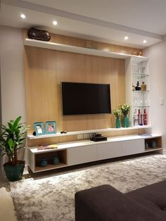 Amazing Modern TV Wall Decor Idea for Living Room Design Look Luxury - Istri Sholehah Tv Unit Decor, Tv Wall Decor, Wall Tv, Living Room Modern, Interior Design Living Room, Living Room Decor, Living Rooms, Hall Room Design, Tv Wall Ideas Living Room