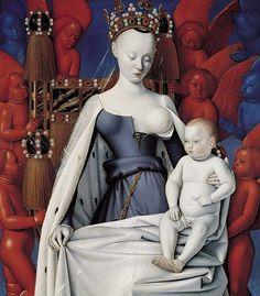 Jean Fouquet, Vierge à l'enfant, 1452-le peintre ne manque pas d'audace quand il représente la Vierge sous les traits d'Agnes Sorel, maîtresse royale. Le contraste entre le blanc de sa carnation et les anges rouges et bleus renforce le caractère étrange du tableau.( volet gauche du diptyque de Melun, huile sur Bois, 91.3x83.3cm)