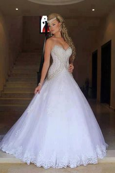 >> Click to Buy << Elegant Tulle Lace Appliques Sweetheart Ball Gown Floor Length Wedding Dress Hot Sale Sleeveless Vestido De Noiva China VB072 #Affiliate