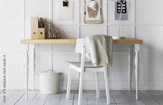 Een heldere en inspirerende werkplek. Ga voor wit om je ideetjes in de verf te zetten. De ideale manier om je creativiteit te stimuleren. ORNLIDEN / NIPEN tafel #IKEABE  A bright and inspiring workplace. Go for white shades to put your ideas in the spotlight. The best way to boost your creativity. ORNLIDEN / NIPEN table #IKEABE