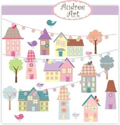 Digital clip art. - little village 2 ,  instant download house clip art