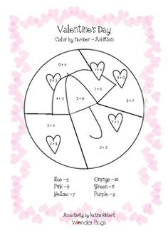 Here's a Valentine's color by number focused on addition facts.