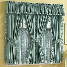 Mayfield Cape Cod Window Treatments in Solid & Pattern Kitchen Curtains And Valances, Ruffle Shower Curtains, Curtains And Draperies, Elegant Curtains, Home Curtains, Beautiful Curtains, Modern Curtains, Curtain Styles, Curtain Designs