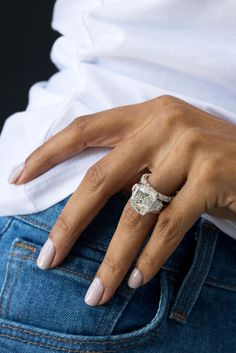 Recipe for success: diamonds, denim, and a daily dose of sparkle. #jeandousset #youaboveall #tencarats #emeraldcut #emeraldcutdiamond #celebrityjewelrydesigner #luxuryjewelrydesigner Classic Engagement Rings, Three Stone Engagement Rings, Dream Engagement Rings, High Jewelry, Luxury Jewelry, Jewelry Box, Emerald Cut Diamonds, Diamond Rings, Jewelery
