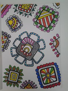 Square flowers doodle art with Sharpies. S.J. Ireland.