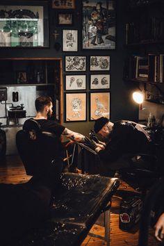 Epic Firetruck's Ink Artist at Work ~ Tatto Shop, Tattoo Shop Decor, Tattoo Studio Interior, Tatto Studio, Tattoo Salon, Tattoo Photography, Dream Tattoos, Its A Mans World, Wild Ones
