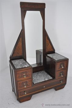 very nice example of art deco furniture - commode marquetry / inlaid different (seems fruit wood) woods and stone. 3 Drawers & mirror. Museal