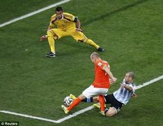 Argentina's Javier Mascherano brilliantly tackles Arjen Robben of Netherlands. The best tackle at the World Cup!
