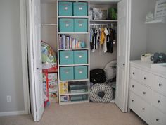 Inspiration for organizing the closet in the nursery!