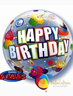 Balão Bubbles Happy Birthday Cupcake. Tamanho: 22 polegadas www.balaocultura.com.br