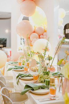 Pastel Balloons, Bridal Shower Decorations, Bridal Shower Colors, Bridal Shower Balloons, Deco Table, Decoration Table, Event Styling, Event Decor, Tablescapes