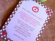 Fall Apple Baking Party Invitations  #bakingparty #invitations