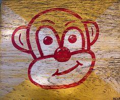 Monkey painting on wood